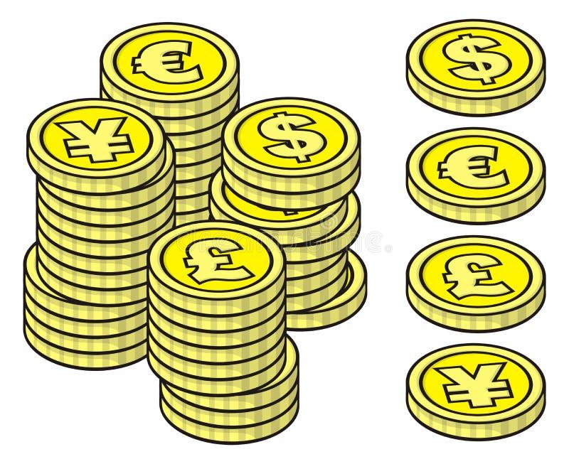 硬币栈 库存例证