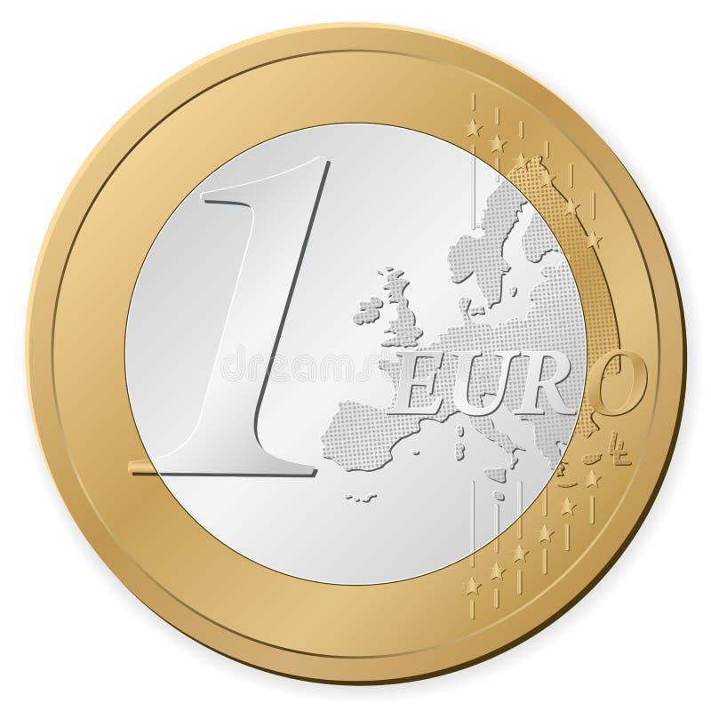 硬币欧元一 库存例证