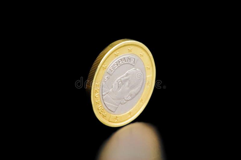 硬币欧元查出一后方西班牙语 库存照片
