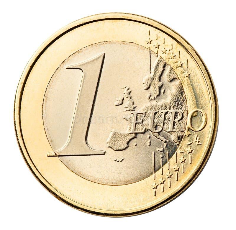 硬币欧元查出的白色 库存照片