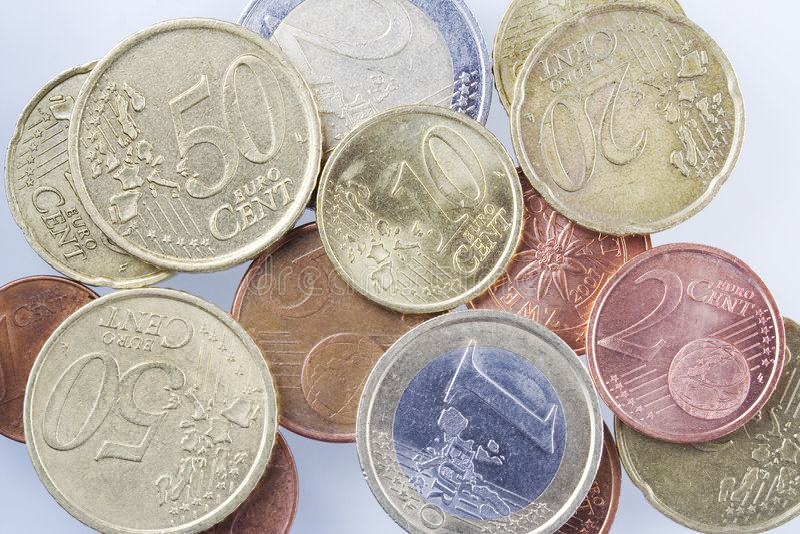 硬币欧元 图库摄影