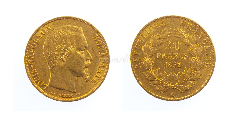 硬币法国金黄 免版税图库摄影
