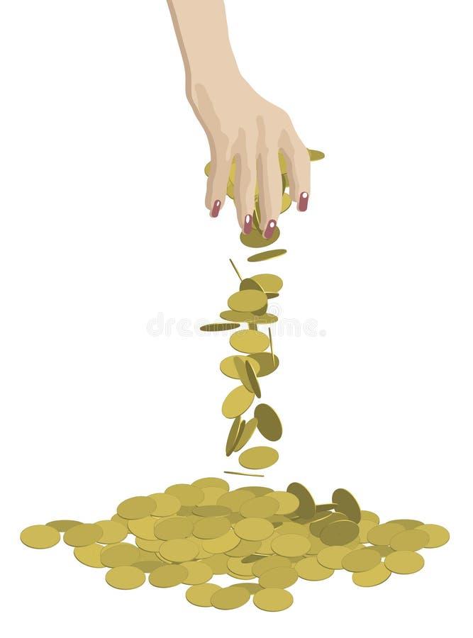 硬币滴下 库存例证