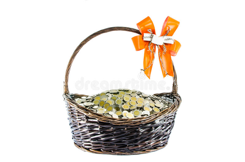 硬币礼物篮子 免版税图库摄影