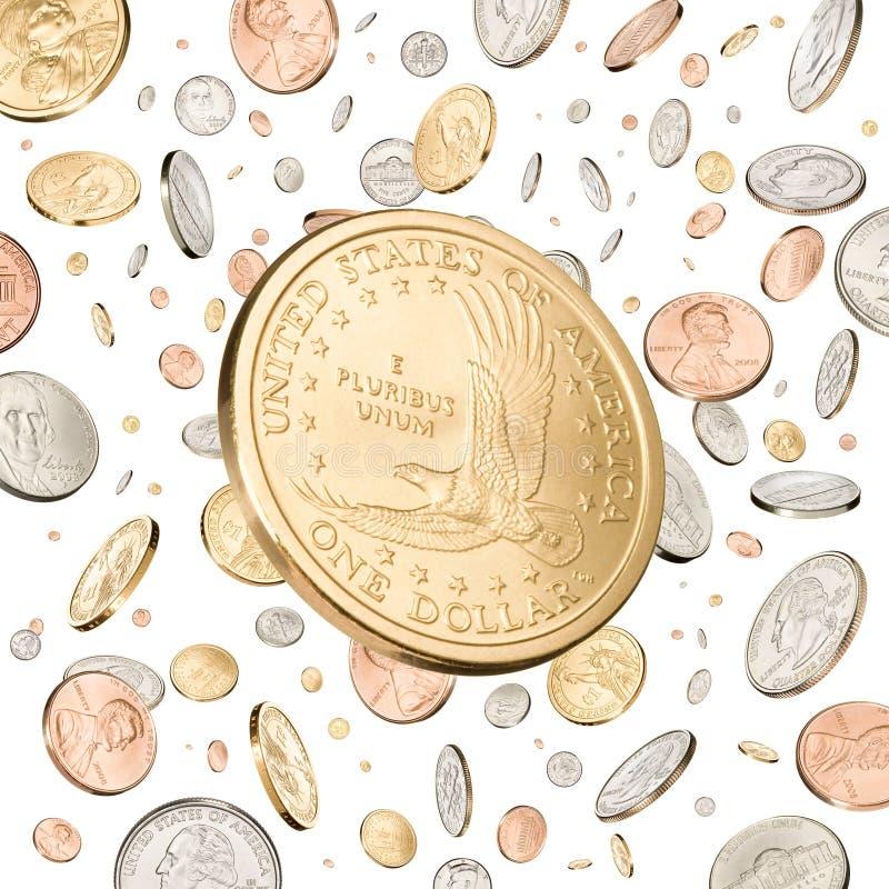 硬币美元下跌的一个 免版税库存照片