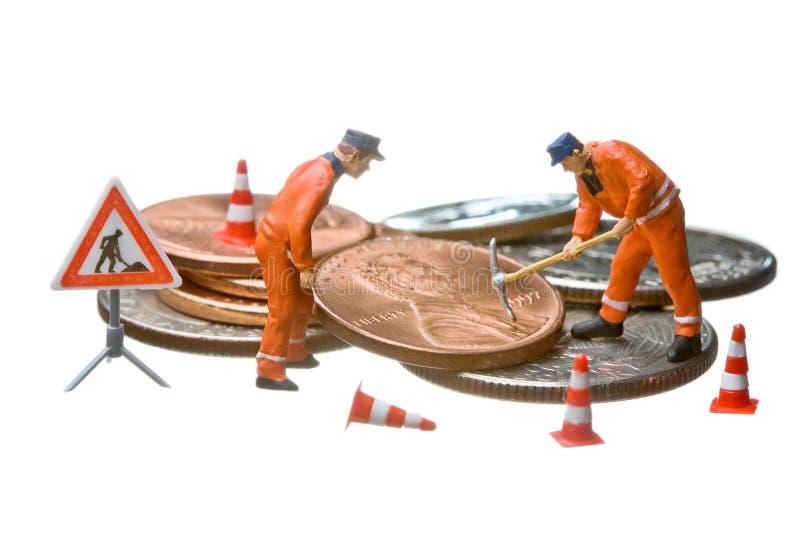 硬币美元判断堆微型工作 免版税库存图片