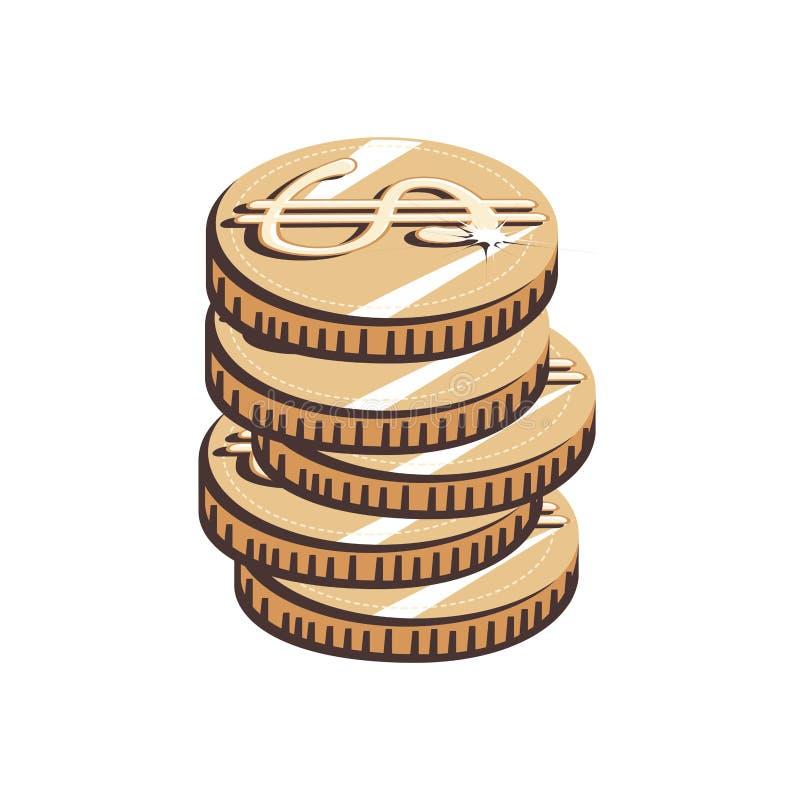 硬币美元被隔绝的象 皇族释放例证