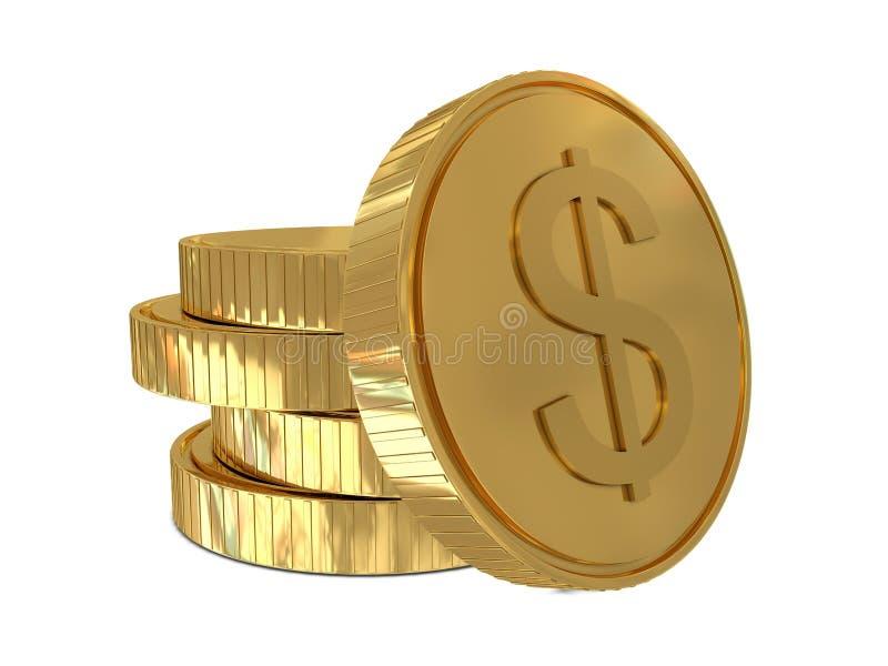 硬币美元金黄符号 皇族释放例证