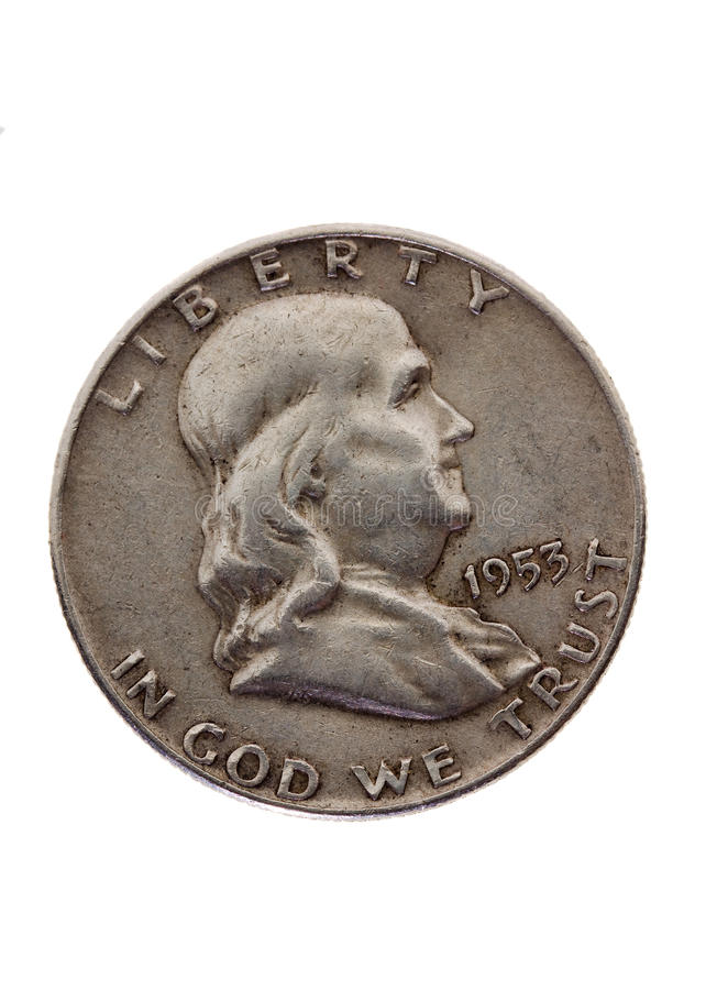 硬币老银 库存照片