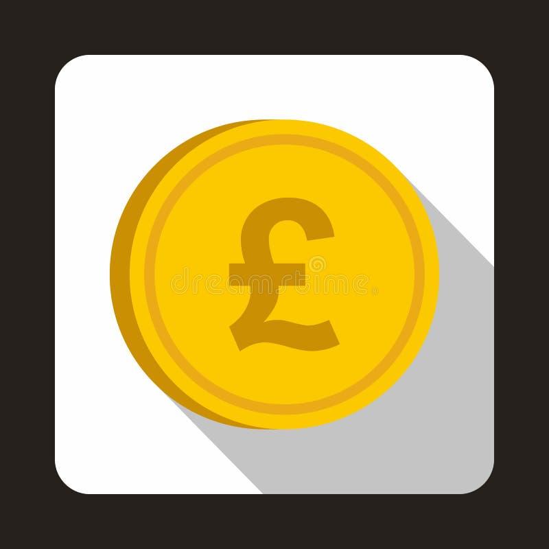 硬币英镑象,平的样式 库存例证