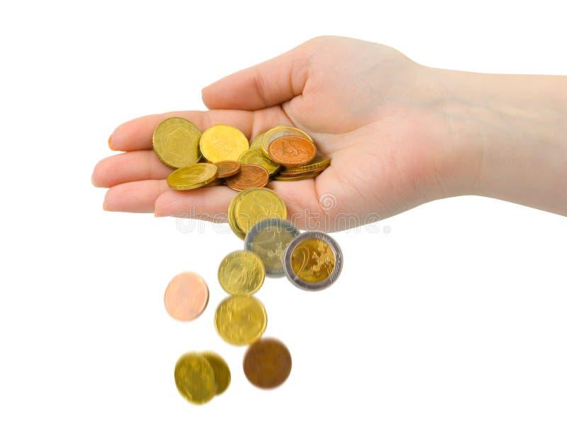 硬币落的现有量 免版税库存照片