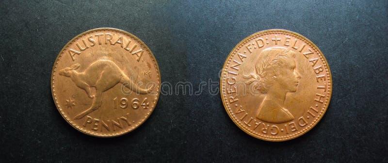 硬币葡萄酒铜澳大利亚人便士 库存照片
