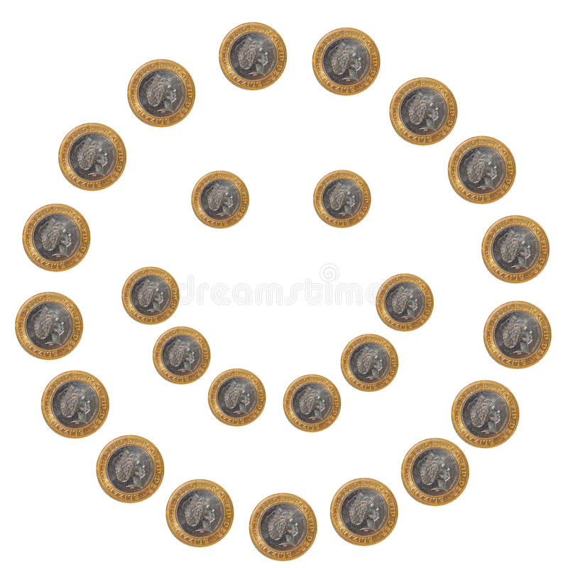 硬币表面兴高采烈的白色 免版税库存照片