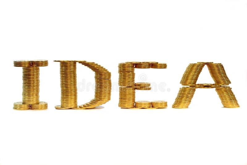 硬币被折叠的想法字 免版税图库摄影