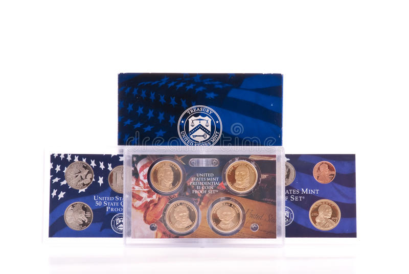 硬币证明集 库存图片