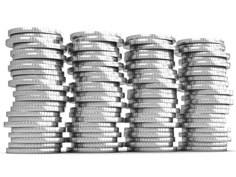 硬币金钱储款堆 库存例证