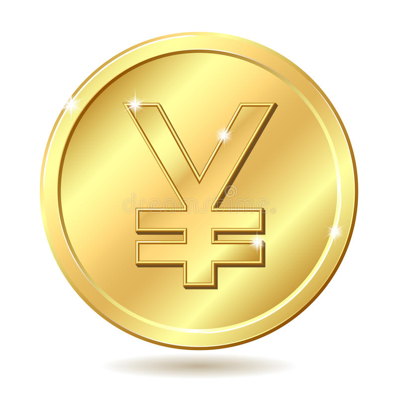 硬币金黄符号日元 皇族释放例证