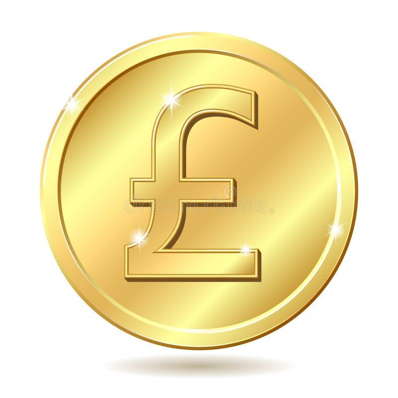 硬币金黄镑符号英镑 库存例证
