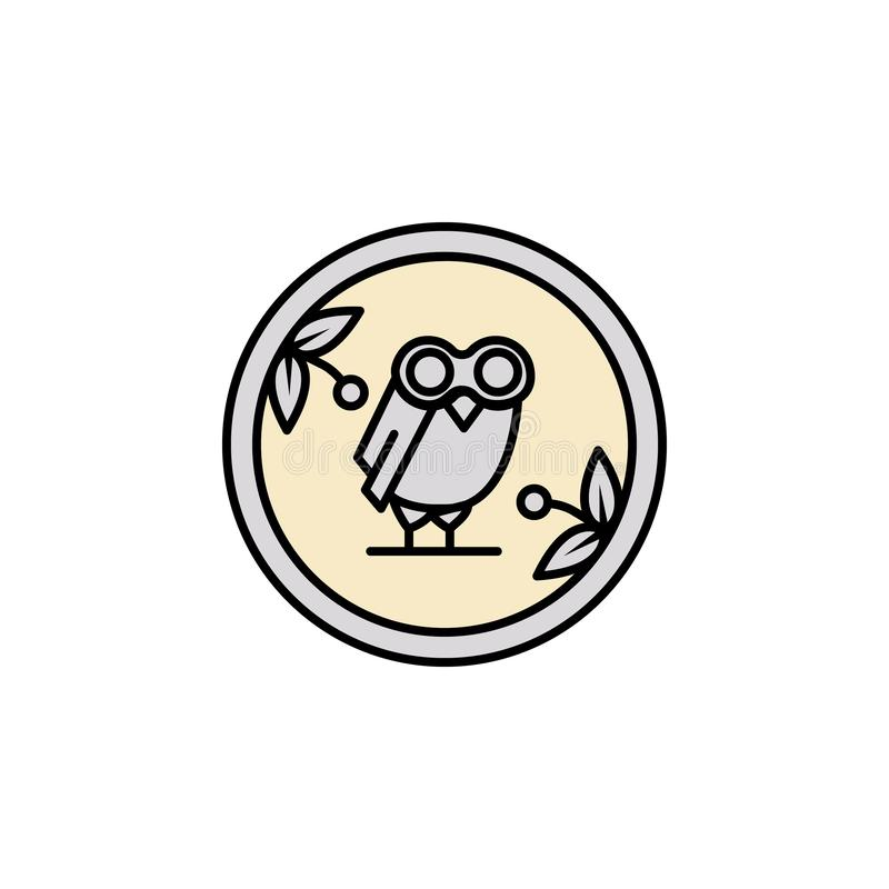 硬币,猫头鹰象 颜色流动概念和网应用程序的古希腊象的元素 色的硬币,猫头鹰象可以为网使用 库存例证