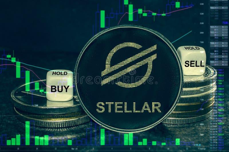 硬币cryptocurrency xlm星堆硬币和模子 交换图买的,出售,举行 皇族释放例证