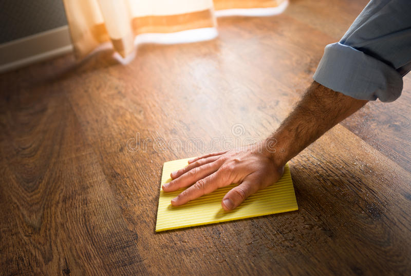 硬木地板manteinance 免版税库存图片