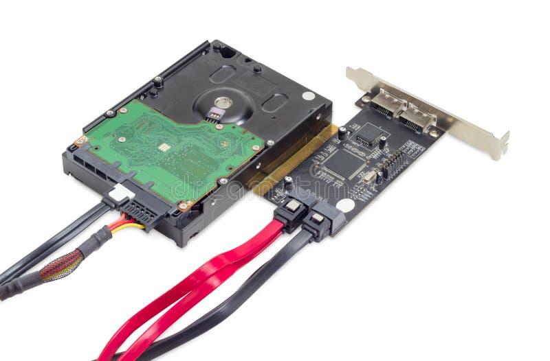 硬盘驱动器和磁盘数组与缆绳的控制卡 免版税库存图片