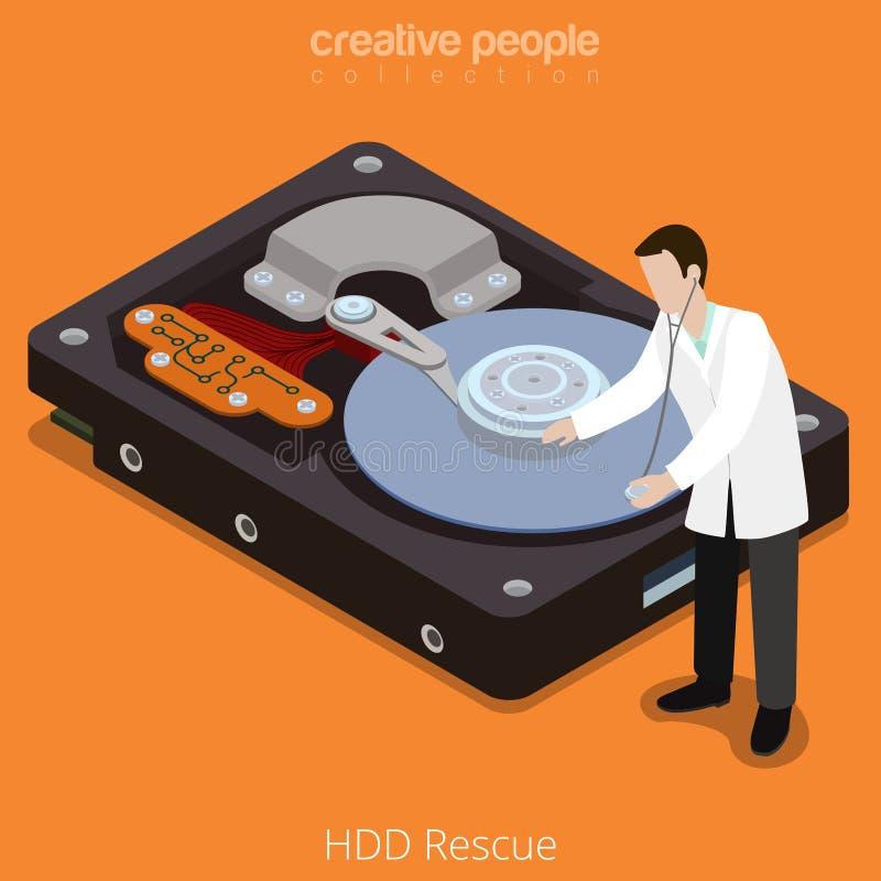 硬盘驱动器抢救加工技术硬盘平的等量传染媒介3d 库存例证