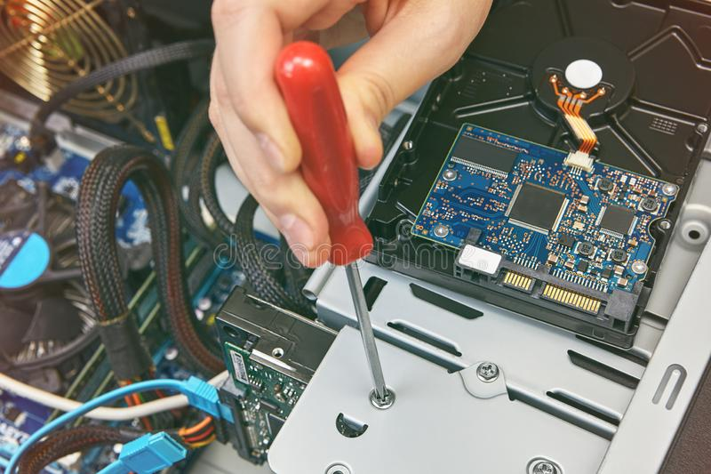 硬盘驱动器的设施个人计算机 免版税库存图片