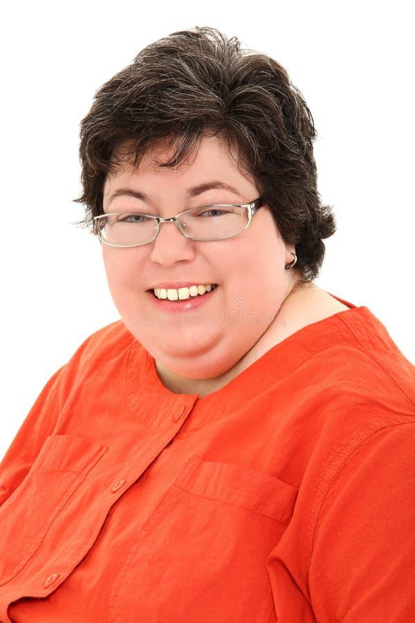 确信和愉快的肥胖妇女企业纵向 免版税库存图片