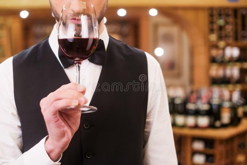 确信和老练的斟酒服务员 库存图片