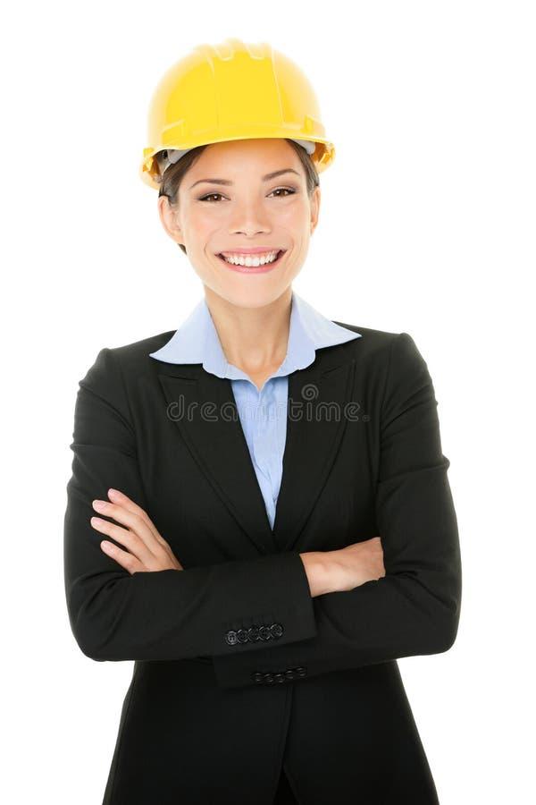 确信女性建筑师微笑 免版税库存图片