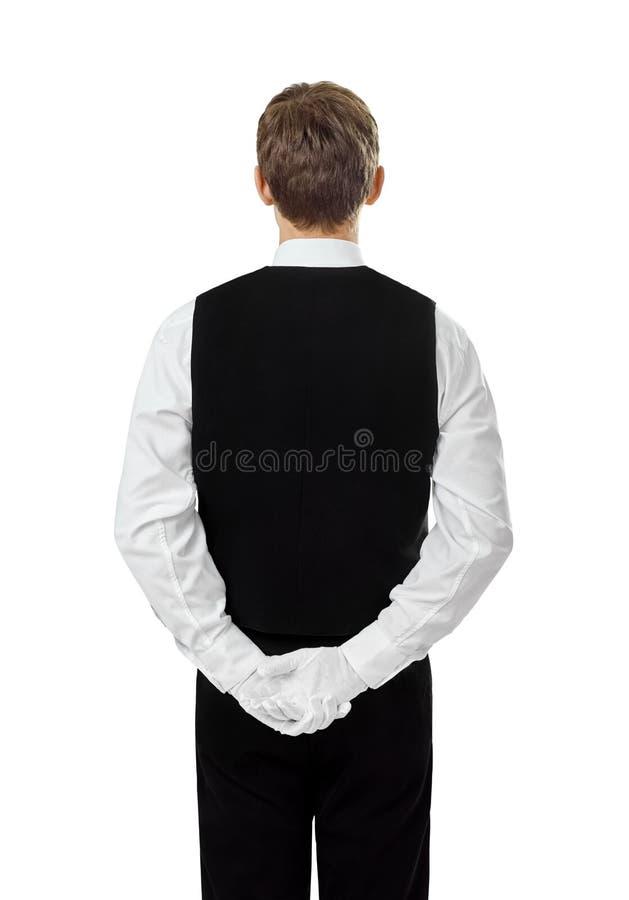 年轻确信的侍者背面图  库存照片