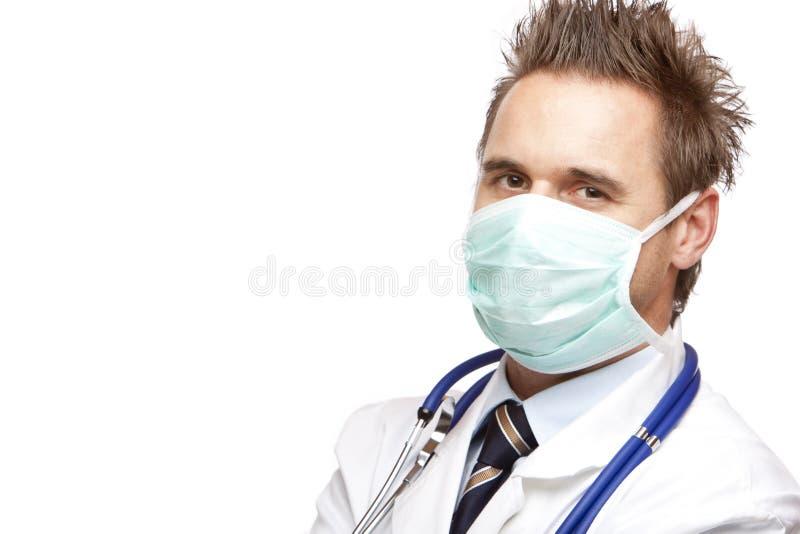 确信的医生英俊的屏蔽医疗自 图库摄影