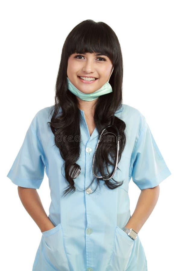 确信的医疗护士年轻人 库存照片