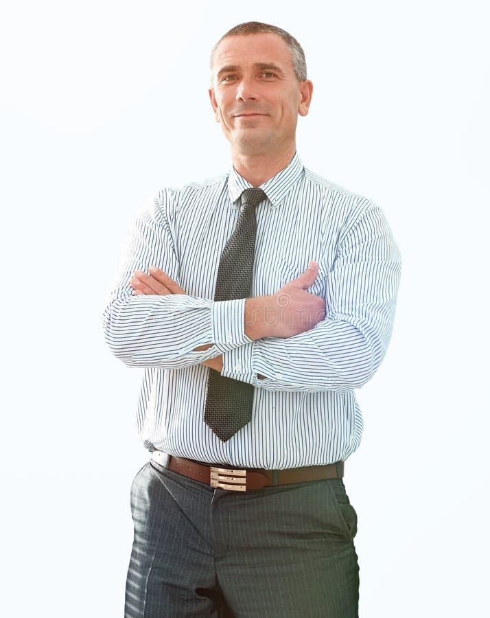 确信的商人特写镜头画象在衬衣和领带的 库存图片