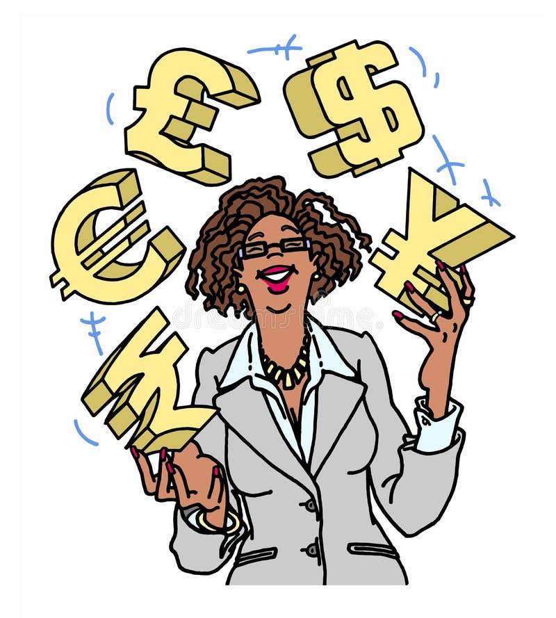确信的女实业家玩杂耍的货币符号 免版税库存图片