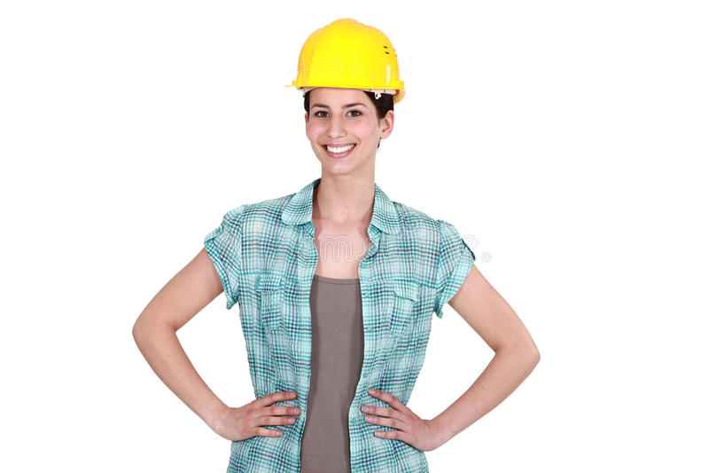 确信的女性建造者 库存图片