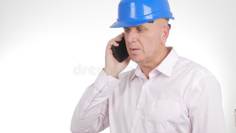 确信的对手机的工程师图象谈的事务 库存照片