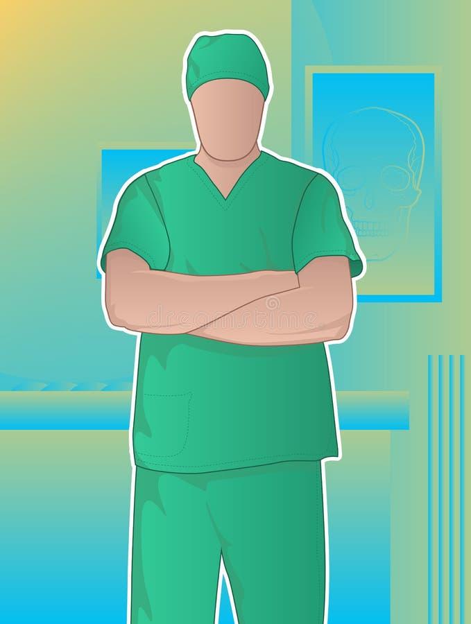 确信的常设外科医生 向量例证
