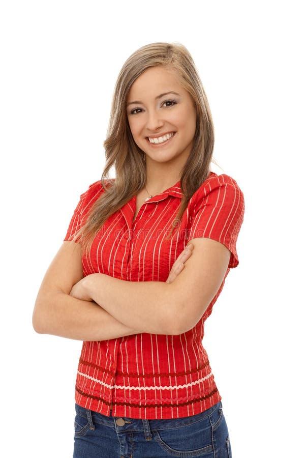 确信的微笑的女孩画象  库存照片