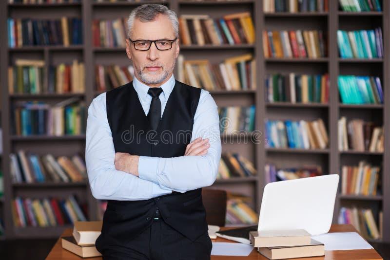 确信的教授 库存照片