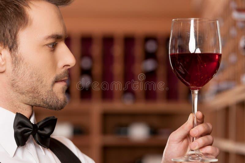 确信的斟酒服务员。 免版税图库摄影