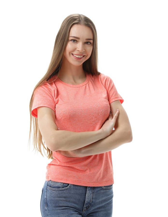 确信的纵向妇女年轻人 背景查出的白色 免版税库存图片