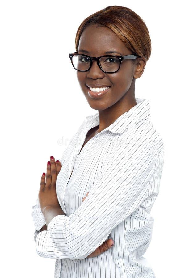 确信非洲夫人顾问摆在 免版税库存图片
