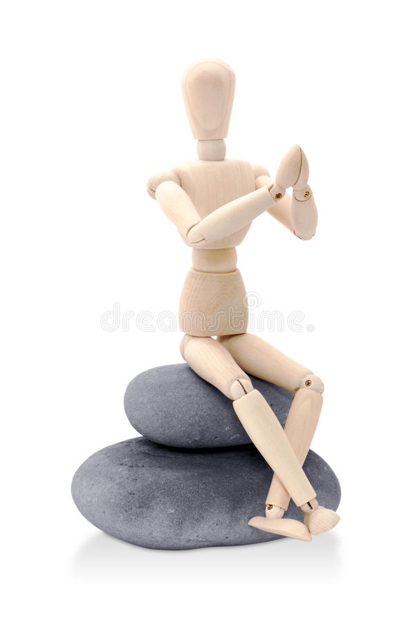 确定木偶坐的禅宗 免版税图库摄影