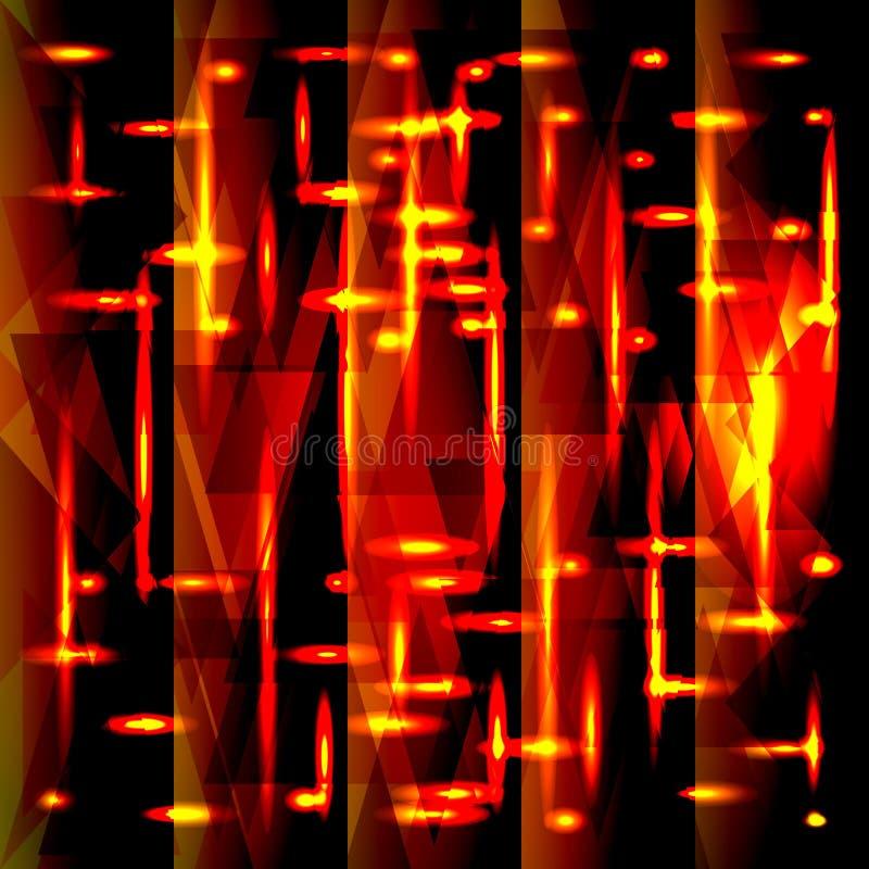 碎片和条纹的传染媒介发光的红色金样式 向量例证