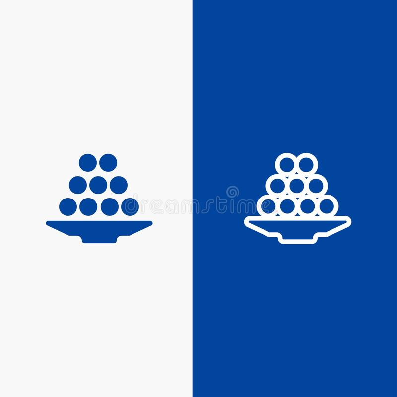 碗、纤巧、点心、印度人、Laddu、甜点、款待线和纵的沟纹坚实象蓝色旗和纵的沟纹坚实象蓝色横幅 库存例证
