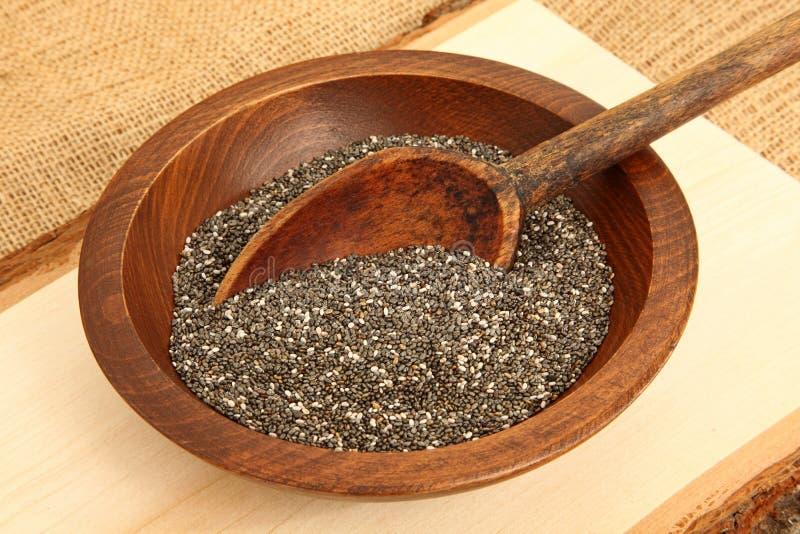 碗与匙子的Chia种子 库存图片