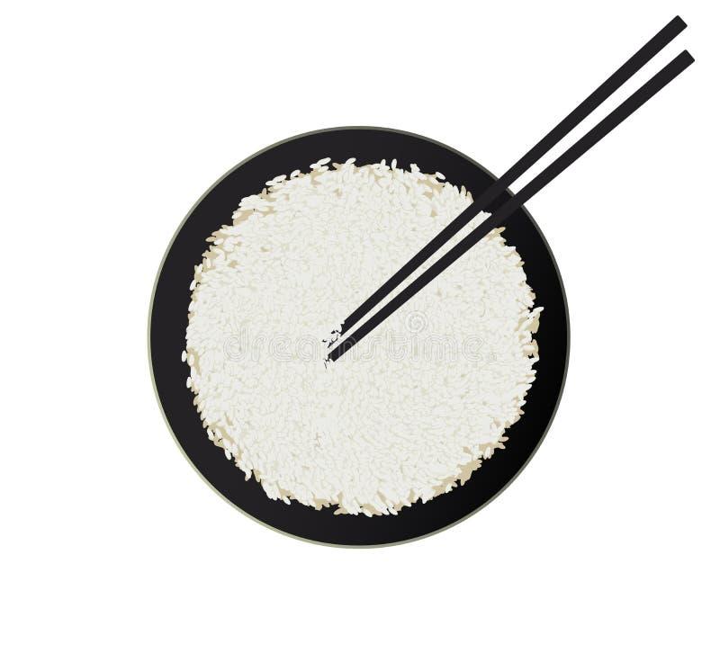 碗与在白色背景隔绝的筷子的白米 库存照片