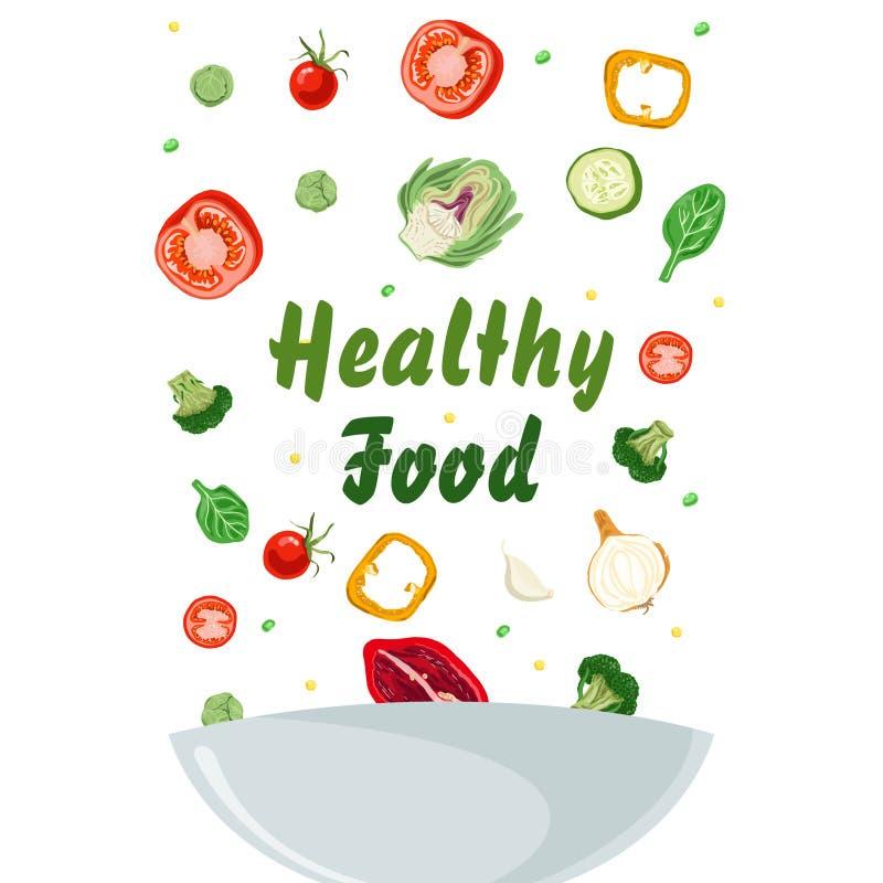 碗与peper、蕃茄、葱和黄瓜的菜沙拉 健康的食物 库存例证